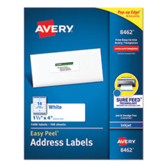 Easy Peel White Address Labels with Sure Feed Technology, Inkjet Printers, 1.33 x 4, White, 14/Sheet, 100 Sheets/Box