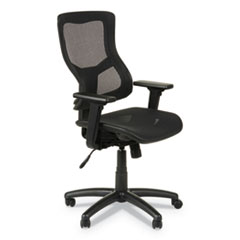 Alera Elusion II Series Suspension Mesh Mid-Back Synchro with Seat Slide Chair, Up to 275 lbs., Black Seat/Back, Black Base