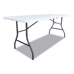 Fold-in-Half Resin Folding Table, 60w x 29 5/8d x 29 1/4h, White