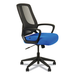 Alera MB Series Mesh Mid-Back Office Chair, Supports up to 275 lbs., Blue Seat/Black Back, Black Base