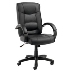 Alera Strada Series High-Back Swivel/Tilt Top-Grain Leather Chair, Supports up to 275 lbs., Black Seat/Black Back, Black Base