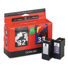 18C0532 (32, 33) Ink, 390 Page-Yield, Black/Tri-Color, 2/Pack