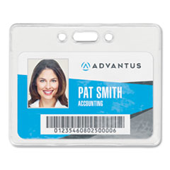 Proximity ID Badge Holder, Horizontal, 3 3/8w x 2 3/8h, Clear, 50/Pack