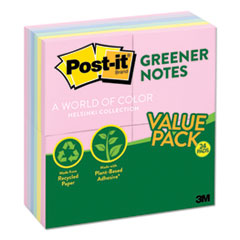 Recycled Note Pads, 3 x 3, Assorted Helsinki Colors, 100-Sheet, 24/Pack