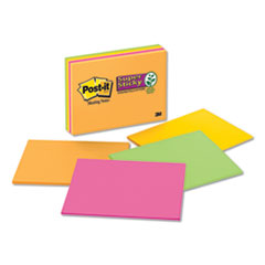 Super Sticky Meeting Notes in Rio de Janeiro Colors, 8 x 6, 45-Sheet, 4/Pack