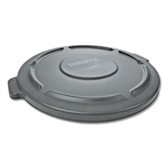 "Round Flat Top Lid, for 32-Gallon Round Brute Containers, 22 1/4"", dia., Gray"