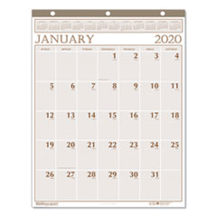 Recycled Large Print Monthly Wall Calendar, Leatherette Binding, 20 x 26, 2020