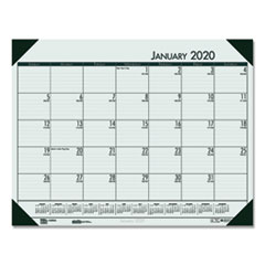Recycled EcoTones Woodland Green Monthly Desk Pad Calendar, 22 x 17, 2020