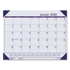 Recycled EcoTones Ocean Blue Monthly Desk Pad Calendar, 22 x 17, 2020