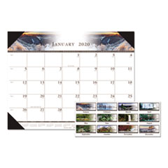 Recycled Full-Color Photo Monthly Desk Pad Calendar, 22 x 17, 2020