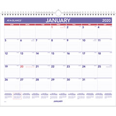 Monthly Wall Calendar, 15 x 12, Red/Blue, 2019