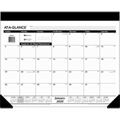 Monthly Refillable Desk Pad, 22 x 17, White, 2019