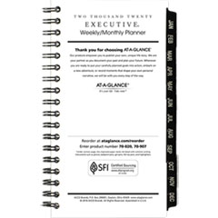Executive Pocket Size Weekly/Monthly Planner Refill, 3 1/4 x 6 1/4, White, 2019
