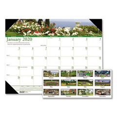 Recycled Gardens of the World Photo Monthly Desk Pad Calendar, 22 x 17, 2019