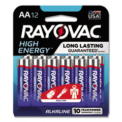 High Energy Premium Alkaline Battery, AA, 12/Pack