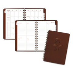Signature Collection Distressed Brown Weekly Monthly Planner, 8 1/2 x 5 3/4, 2020-2021