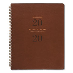 Signature Collection Distressed Brown Weekly Monthly Planner, 11 x 8 3/4, 2020-2021