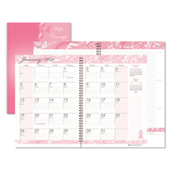 Recycled Breast Cancer Awareness Monthly Planner/Journal, 10 x 7, Pink, 2020