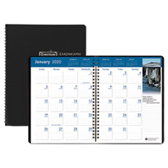 Recycled Earthscapes Full-Color Monthly Planner, 11 x 8 1/2, Black, 2019-2021