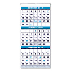 Recycled Three-Month Format Wall Calendar, 12 1/4 x 26, 14-Month, 2019-2021