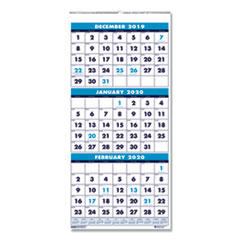 Recycled Three-Month Format Wall Calendar, 8x17, 14-Month (Dec.-Jan.) 2018-2020