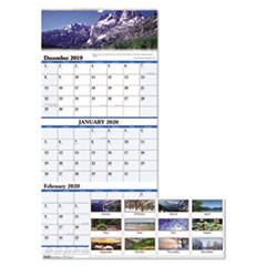 Recycled Scenic Landscapes Three-Month/Page Wall Calendar, 12.25 x 26, 2019-2021