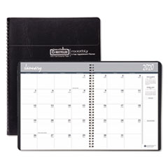 Recycled 24-Month Ruled Monthly Planner, 11 x 8 1/2, Black, 2020-2021