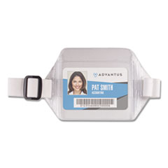 Horizontal Arm Badge Holder, 3 3/4 x 2 3/4, Clear/White. 12 per Box