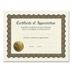 Ready-to-Use Certificates, 11 x 8.5, Ivory/Brown, Appreciation, 6/Pack