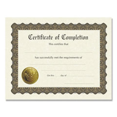 1Ready-to-Use Certificates, 11 x 8.5, Ivory/Brown, Completion, 6/Pack