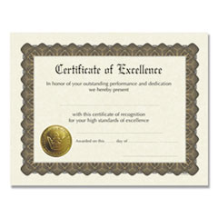 1Ready-to-Use Certificates, 11 x 8.5, Ivory/Brown, Excellence, 6/Pack