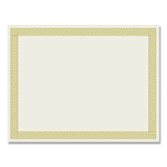 1Foil Border Certificates, 8.5 x 11, Ivory/Gold, Channel, 12/Pack