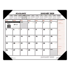 Two-Color Monthly Desk Pad Calendar, 22 x 17, 2020