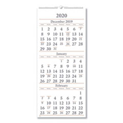 Three-Month Reference Wall Calendar, 12 x 27, 2019-2021
