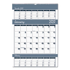 Recycled Bar Harbor Three-Months-per-Page Wall Calendar, 15 1/2 x 22, 2019-2021