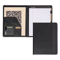 Slimline Padfolio, Leather-Look/Faux Reptile Trim, Writing Pad, Black