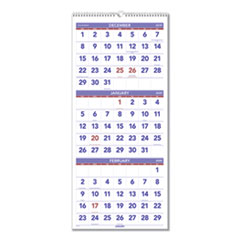 Vertical-Format Three-Month Reference Wall Calendar, 12 x 27, 2020