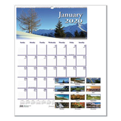 Recycled Scenic Beauty Monthly Wall Calendar, 12 x 16 1/2, 2020