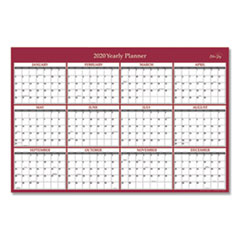 Laminated Classic Red Calendar, 36 x 24, 2020