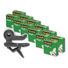 "Clip Dispenser Value Pack, 1"" Core, Charcoal, Plus 12 Tape Rolls 3/4"" x 1000"""