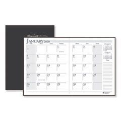 Recycled Ruled Planner with Stitched Leatherette Cover, 11 x 8 1/2, Black, 2019-2021