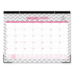 Dabney Lee Ollie Desk Pad, 22 x 17, Gray/Pink, Clear Corners, 2020