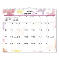 Watercolors Recycled Monthly Wall Calendar, 15 x 12, 2020