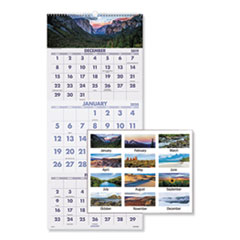 Scenic Three-Month Wall Calendar, 12 x 27, 2020