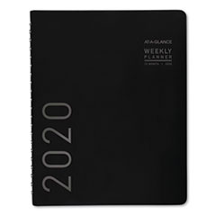 Contemporary Weekly/Monthly Planner, Column, 10 7/8 x 8 1/4, Black Cover, 2020