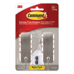 Decorative Hooks, Medium, Brushed Nickel, 2 Hook and 4 Strips/Pack