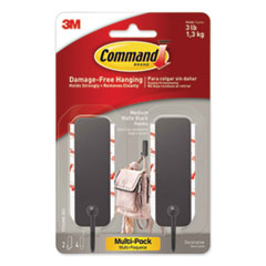 Decorative Hooks, Medium, Matte Black, 2 Hook and 4 Strips/Pack
