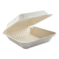 Bagasse Molded Fiber Food Containers, Hinged-Lid, 1-Compartment 9 x 9 x 3.19, White, 100/Sleeve, 2 Sleeves/Carton