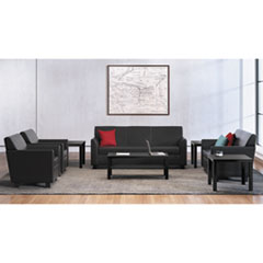 Circulate Leather Reception Three-Cushion Sofa, 73w x 28.75d x 32h, Black