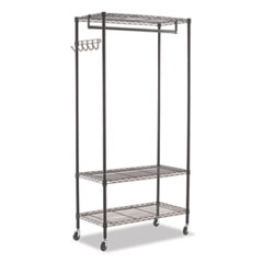 Wire Shelving Garment Rack, 30 Garments, 36w x 18d x 75h, Black